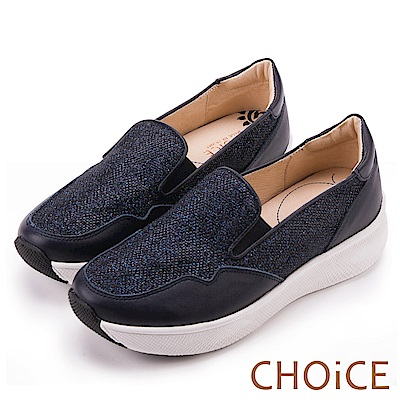 CHOiCE 率性簡約 牛皮拼接金蔥布料舒適休閒鞋-藍色