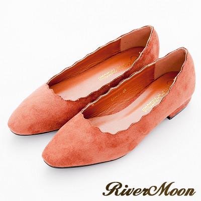 River-Moon跟鞋-韓版麂絨波浪剪裁素面粗跟鞋-磚紅棕