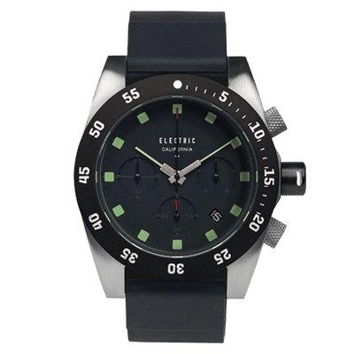 ELECTRIC DW01系列-經典潛水三眼計時腕錶-黑面x黑矽膠帶/44.5mm