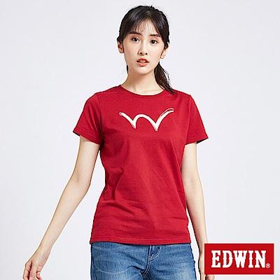 EDWIN 東京系列W反光短袖T恤-女-紅色