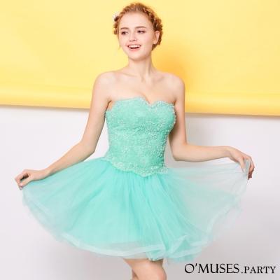 蕾絲魚骨婚紗伴娘短禮服-OMUSES
