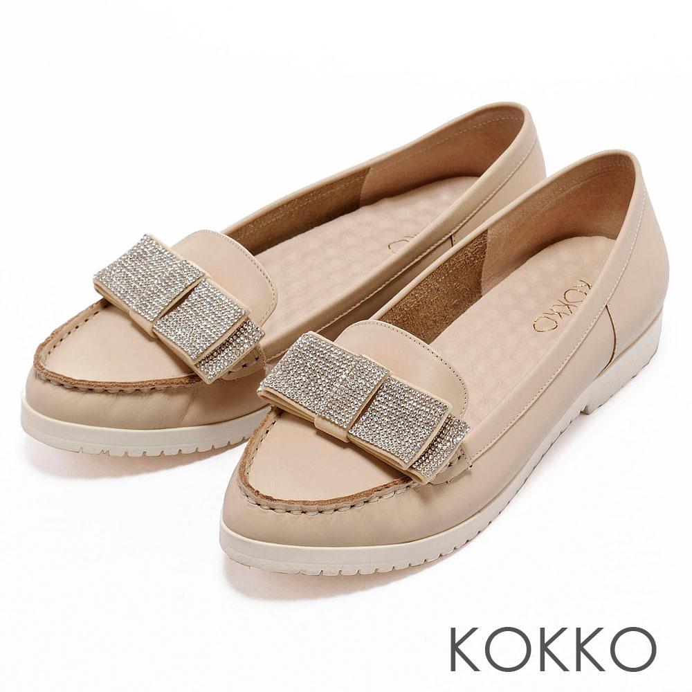 KOKKO彩虹色夢境‧立體燙鑽蝴蝶結尖頭休閒鞋 - 氣質米