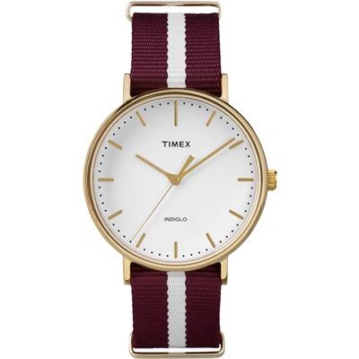 TIMEX 天美時週末Fairfield系列時尚手錶-白紅條紋/41mm