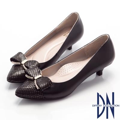 DN-甜美佳人-浪漫鑽飾蝴蝶結尖頭低跟鞋-黑