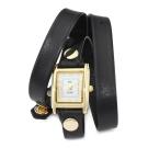 La Mer Collections  黑色皮革錶帶金色錶框23mm