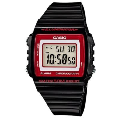 CASIO 超亮LED大螢幕方形數位錶(W-215H-1A2)-黑/紅框 40mm