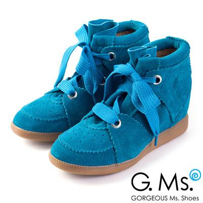 【G.Ms.】運動韓妞‧全真皮綁帶內增高球鞋‧土耳其藍
