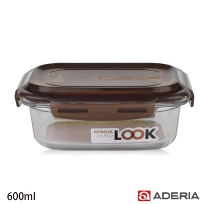 ADERIA 日本進口KOMAX長形強化玻璃密封保鮮盒600ml