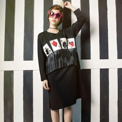 古著 A撲克牌流蘇造型開叉洋裝