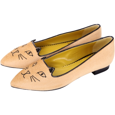 Charlotte Olympia Mid-Century 貓咪尖頭平底鞋(駝)