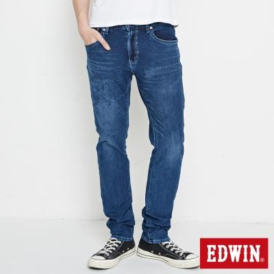 EDWIN 迦績褲 不對稱刷色窄直筒牛仔褲-男-酵洗藍