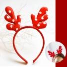 摩達客 可愛聖誕紅色圓點鹿角髮箍