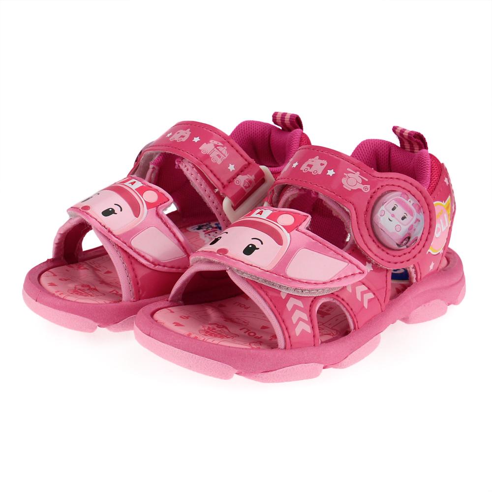 Robocar Poli 波力-中童電燈涼鞋-粉紅