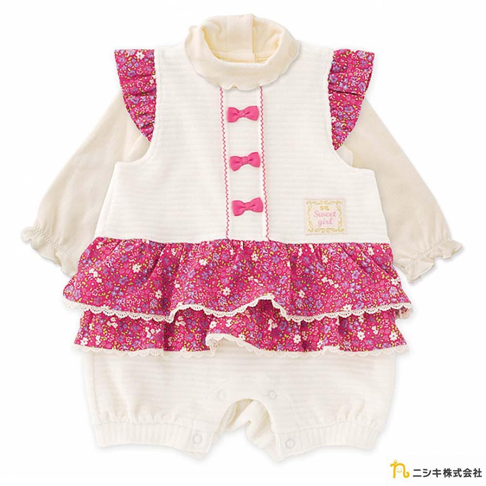 Nishiki 日本株式會社 白色天鵝絨雙層碎花裙連身褲套裝