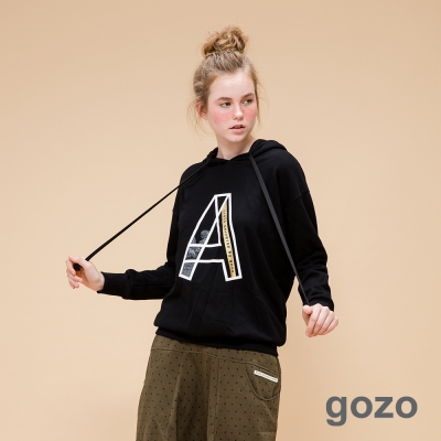 gozo網路獨家-潮流女孩必備寬鬆長版帽T黑色