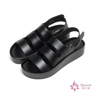 達芙妮x高圓圓 圓漾系列三線金屬壓釦厚底涼鞋-風格黑