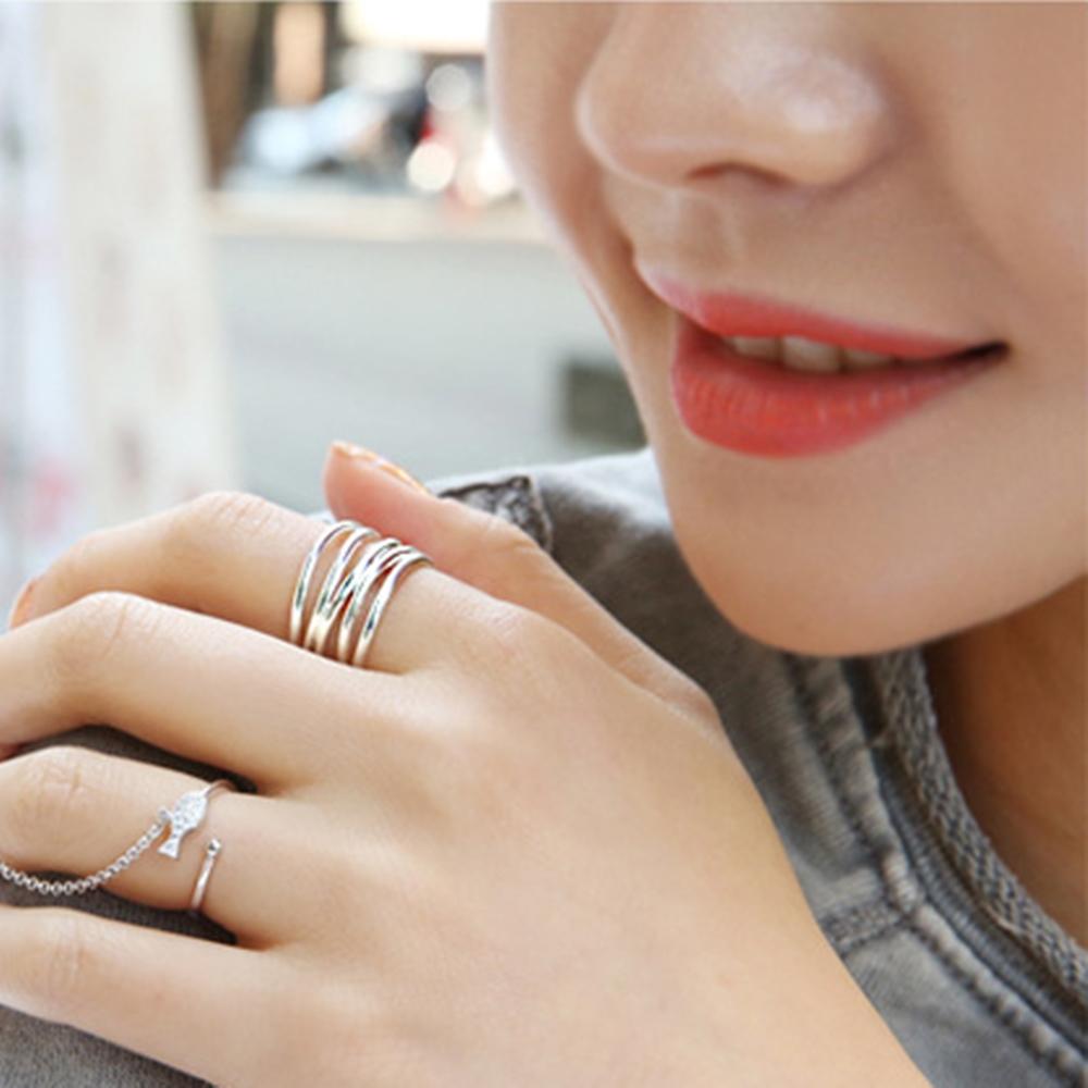 梨花HaNA 韓國925銀多層簡約質感寬戒指