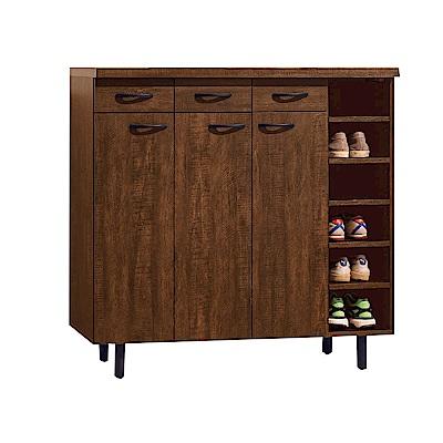品家居 瑪蒂娜3.9尺三門三抽鞋櫃(二色可選)-116x39.5x111cm免組
