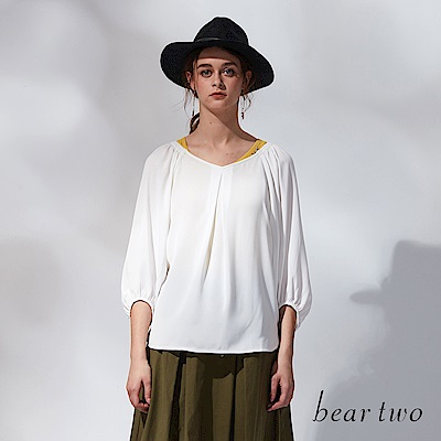 beartwo V領燈籠袖上衣(二色)