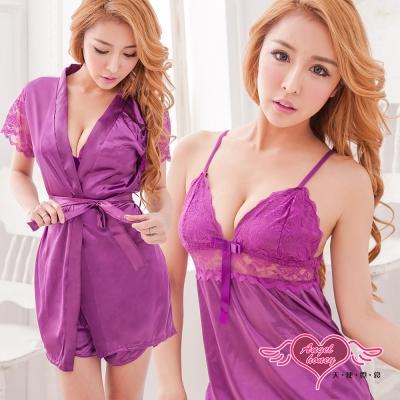睡衣-浪漫玫瑰-蕾絲短袖三件式睡衣組-深紫M-2L-AngelHoney天使霓裳