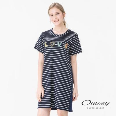 OUWEY歐薇 縫珠LOVE條紋洋裝(藍)