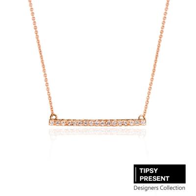 微醺禮物-鋯石-鍍18K金-細緻一字鑲鑽-項鍊