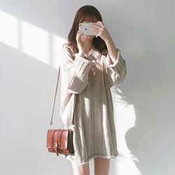 韓國 V領毛衣連身裙洋裝