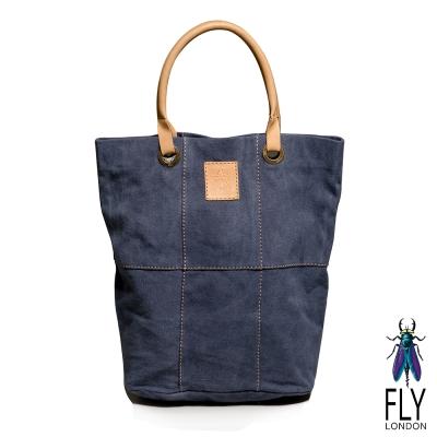 Fly London - SIX PIECES FLY水洗帆布牛皮手提長袋 - 自在藍