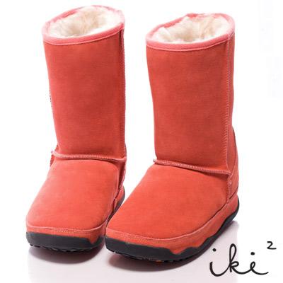 iki2魅力滿載-機能性美腿麂皮雪靴-長筒-橘