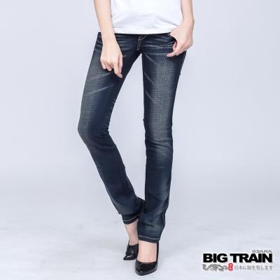 BIG TRAIN 女款 低腰繡花伸縮小直筒褲-深藍