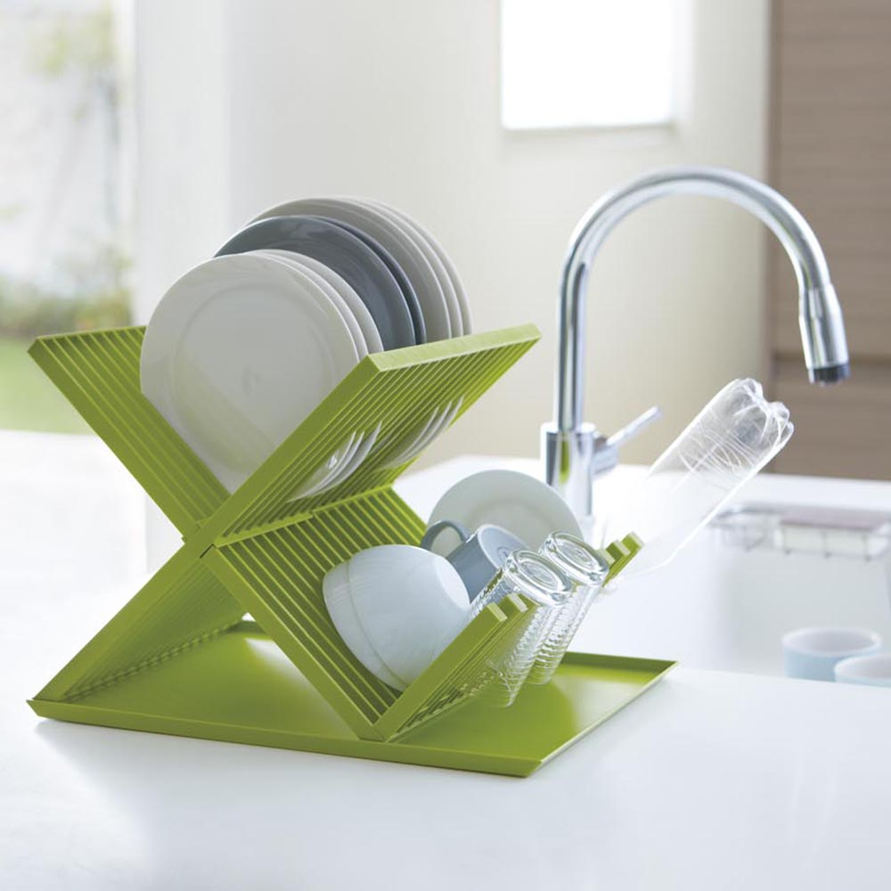 【YAMAZAKI】AQUA全能X型瀝水架-綠★置物架/多功能收納/廚房用品/居家收納