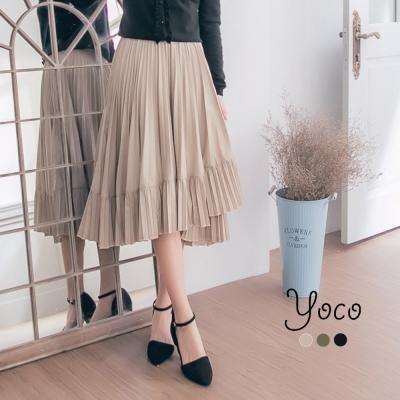 東京著衣-yoco 歐式復古層次百褶長裙-S.M(共三色)