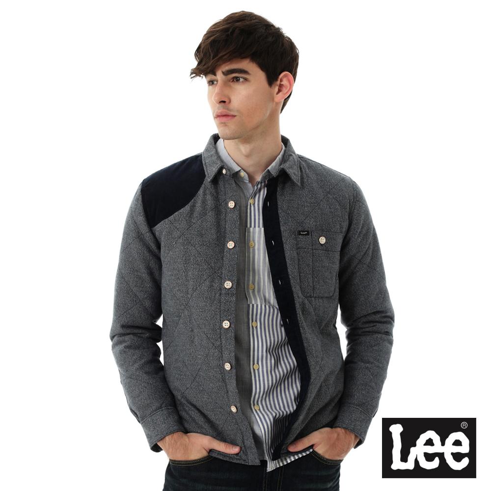 Lee 羽絨外套 襯衫式絨布拼接 -男款-麻花藍