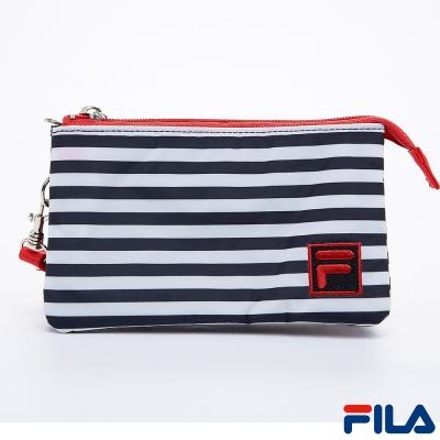 FILA多功能條紋手拿包-質感黑-PWQ-5501-BK