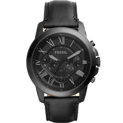 FOSSIL Grant經典復刻計時腕錶-黑/44mm