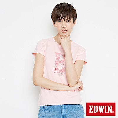 EDWIN 浪紋E字印花短袖T恤-女-淺粉紅