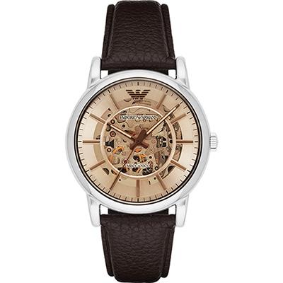 Emporio Armani Meccanico 雅爵鏤空機械腕錶-咖啡/43mm