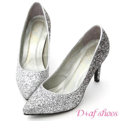 D+AF 星光閃耀‧漸層閃料亮片水台高跟鞋*銀灰