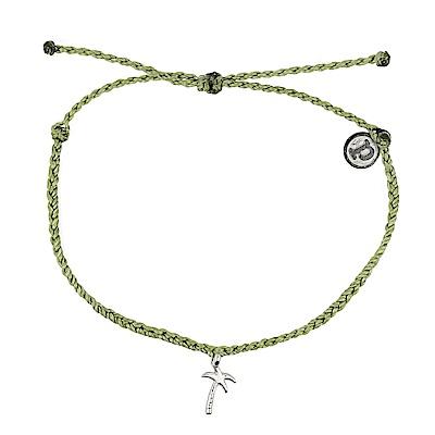 Pura Vida 美國手工 銀色椰子樹 草綠色臘線可調式手鍊防水衝浪手繩