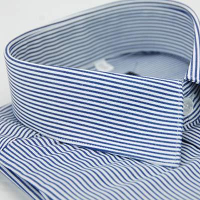 金-安德森-深藍色條紋窄版長袖襯衫