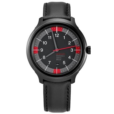MONDAINE 瑞士國鐵Erik Spiekermann聯名紀念錶-鍍黑x紅/43mm