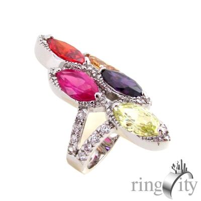 RingCity 繽紛彩鑽色菱形組合造型戒