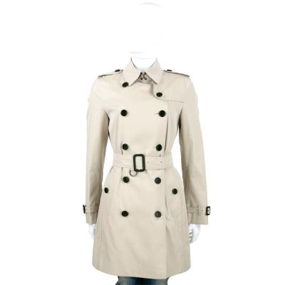 BURBERRY GABARDINE 灰色中長版棉質風衣(附腰帶)