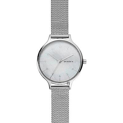 Skagen ANITA 北歐時尚米蘭帶女錶(SKW2701)-珍珠貝x銀/36mm
