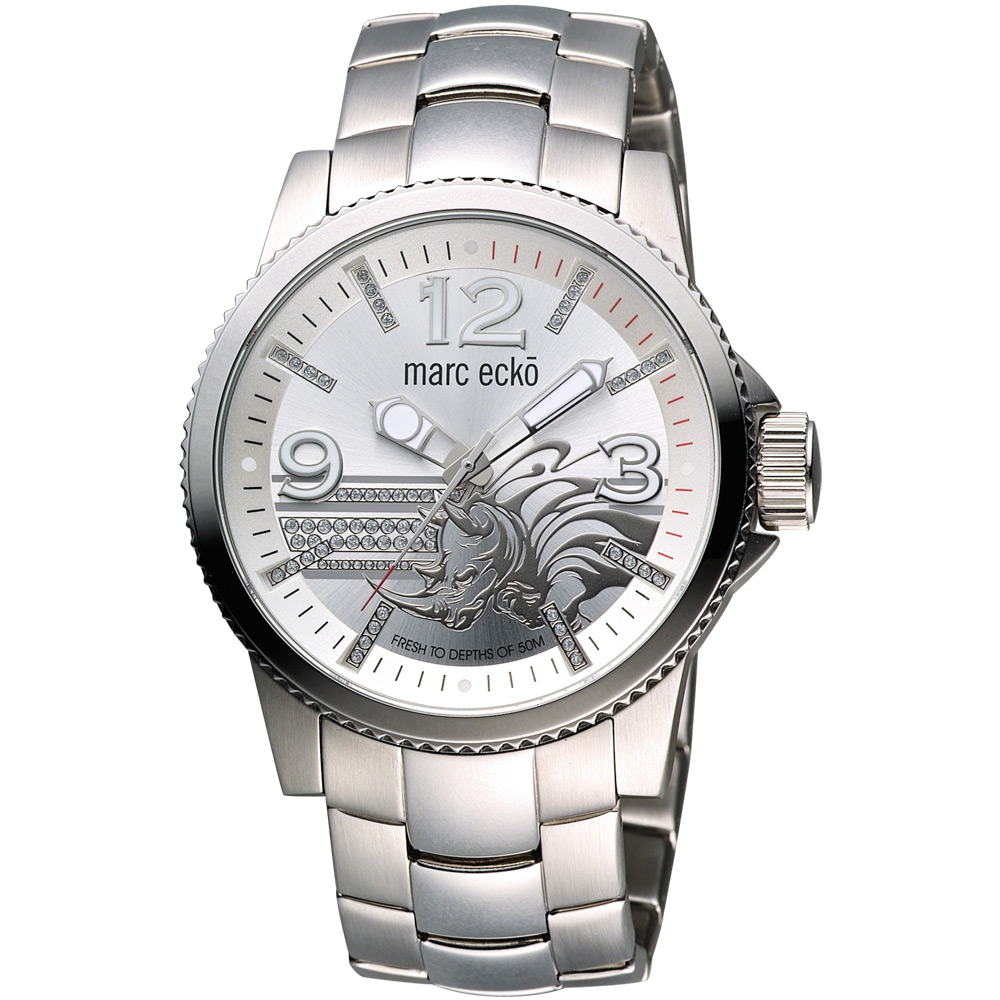 MARC ECKO 藝術浮雕犀牛晶鑽腕錶-銀/43mm