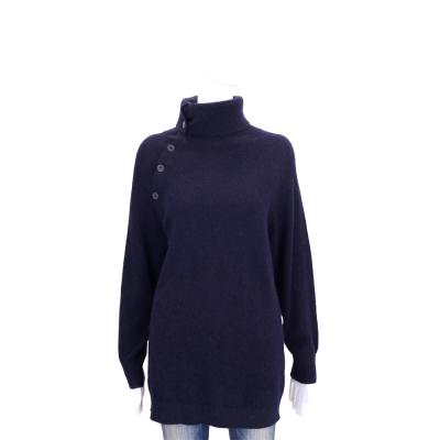 Max Mara 深藍色高領排釦設計長版上衣