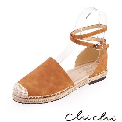 Chichi 繞踝扣環草編平底鞋*駝色