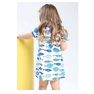 歐美春夏純棉兒童短袖長版T-魚兒同樂