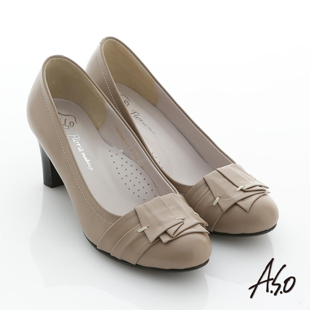 A.S.O 花心跟鞋 全牛皮不規則翻摺窩心中跟鞋 灰