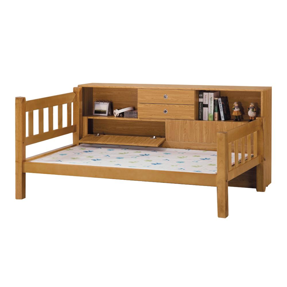 品家居 卡士德3.5尺實木單人收納床台(不含床墊)-112.11x200x90.9cm免組
